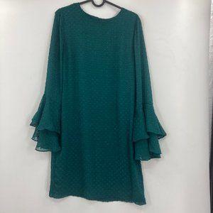 H&M Emerald Green Long Bell Sleeve Mini Dress